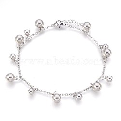 """Bracelets de cheville en 304 acier inoxydable avec pendentif, boule, couleur inoxydable, 9-1/4"""" (23.5 cm), 2.3mm(AJEW-P069-07P)"""