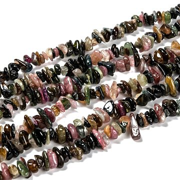 Natural Tourmaline Chips Beads Strands, 5~8mm, Hole: 0.8mm; about 120pcs/strand, 36inches(F082)