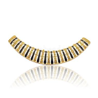 Ton doré alliage strass émail courbe perles tubulaires(RB-J265-03G)-1