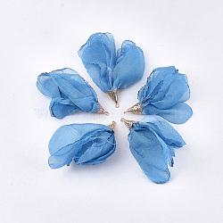 большие подвески из полиэстера, с железом выводы, цветок, светлое золото, cornflowerblue, 63~67x10 mm, отверстия: 1.5~2 mm(FIND-T051-08)