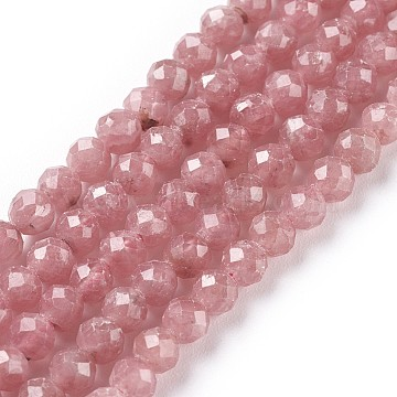 Natural Argentina Rhodochrosite Beads Strands, Faceted, Round, Grade A+, 4mm, Hole: 0.6mm; about 100pcs/strand, 15.55inches~15.74inches(39.5~40cm)(G-I256-07B)