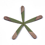 Resin & Walnut Wood Pendants, Teardrop, Dark Olive Green, 44x7.5x3mm, Hole: 1.2mm