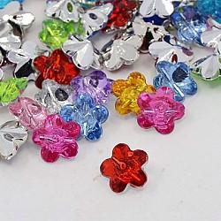 Boutons en acrylique avec strass, 1-trou, facette, fleur, couleur mixte, 12x12x6mm, Trou: 1mm(BUTT-J006-M)