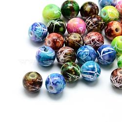 Perles acryliques drawbench peintes par pulvérisation, rond, couleur mixte, 9.5x9mm, trou: 2 mm; environ 980 pcs / 500 g(ACRP-S669-M)