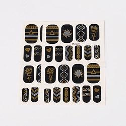 Autocollants en papier de tatouages temporaires de faux styles amovibles, métalliques ongles autocollants, or, 18~26x8~16 mm; environ 2 PCs / sac(AJEW-O025-11)