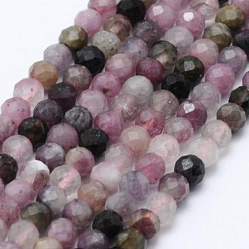 Natural Tourmaline Beads Strands, Faceted, Round, 3mm, Hole: 0.5~0.6mm, about 133~144pcs/strand, 15.3~15.7 inches(39~40cm)(G-F460-51)