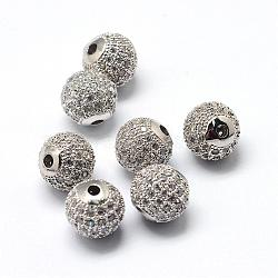 Rack Plating Brass Cubic Zirconia Beads, Long-Lasting Plated, Round, Platinum, 8x7mm, Hole: 2mm(ZIRC-S001-8mm-A02)