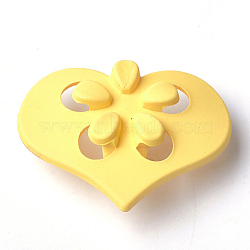 Boutons en acrylique, caoutchouté, 1-trou, coeur avec fleur, jaune, 41.5x31x15.5mm, Trou: 4mm(MACR-T024-09D)