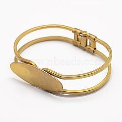 Brass Bangle Making, Blank Bangle Base, Nickel Free, Rack Plating, Nickel Free, Oval, Raw(Unplated), 1-7/8 inchesx2-3/8 inches(47x60mm); Tray: 15x40mm(KK-G315-01)