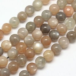 Natural Sunstone Beads Strands, Round, 6mm, Hole: 1mm; about 65pcs/strand, 15.7inches