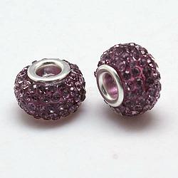 Résine lumière grade A améthyste strass perles européennes, perles de rondelle avec grand trou , avec ame en laiton de couleur argent, 12x8mm, Trou: 4mm(X-CPDL-H001-12x9mm-5)