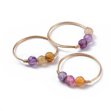 Natural Agate Finger Rings, with Brass Copper Jewelry Wire, Faceted, Golden, Mixed Color, Size 8~10, 18~20mm(RJEW-JR00276-M)