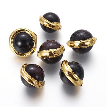 17mm Black Round Garnet Beads