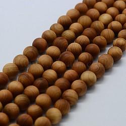 Бусины из дерева, круглые, 6 мм, Отверстие : 1 мм; около 66 шт / нитка, 15.5