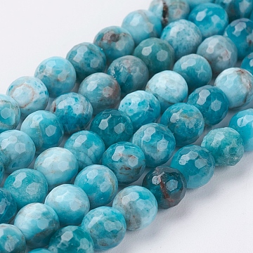 Natural Apatite Beads Strands, Faceted(128 Facets), Round, 6mm, Hole: 0.8mm; about 63pcs/strand, 15.3inches(39cm)(G-J376-28-6mm)
