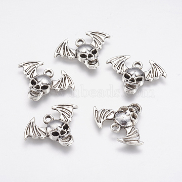 Alloy Pendants, Skull with Wing, Antique Silver, 17x23x3mm, Hole: 1.5mm(X-PALLOY-G192-08AS)