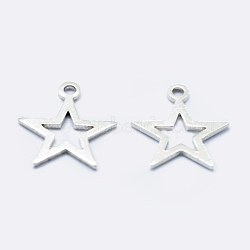 Sterling Silver Charms, Star, Silver, 11x9.5x0.8mm, Hole: 1mm(STER-I014-17S)