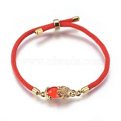 """Bracelets réglables en nylon, Bracelets coulissants, bracelets bolo, avec maillons en laiton et zircone, Pi Xiu, rouge, 8-5/8"""" (22cm); 3mm(BJEW-L639-02B)"""