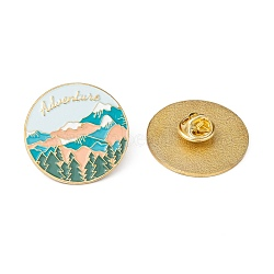 Creative Zinc Alloy Brooches, Enamel Lapel Pin, with Iron Butterfly Clutches or Rubber Clutches, Flat Round with Word Adventure, Light Sky Blue, 31mm; Pin: 1mm(JEWB-R015-002)