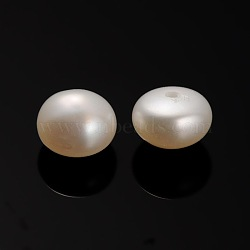 Natural Cultured Freshwater Pearl Beads, Half Drilled, Rondelle Bisque, 6.5~7x4mm, Hole: 0.7mm(PEAR-E001-16)