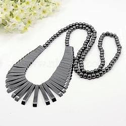 """Hématite synthétique magnétique mode diplômé perles colliers, triangle, noir, 38.5""""(NJEW-K006-23C)"""