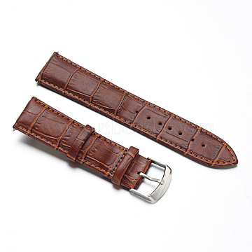 Leather Watch Bands, with Stainless Steel Clasps, SaddleBrown, 88x22x2mm; 124x20x2mm(WACH-M140-22#-04)