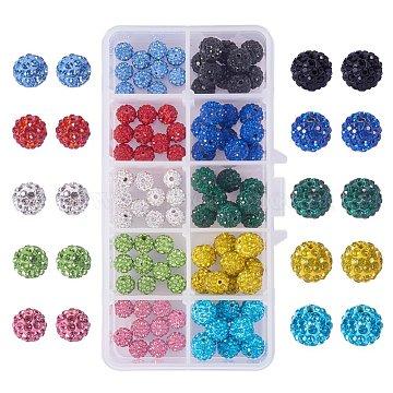 PandaHall Elite Pave Disco Ball Beads, Polymer Clay Rhinestone Beads, Round, Mixed Color, 10mm, Hole: 1.5mm; 10pcs/comparmrnt, 50pcs/box; 8mm, Hole: 1mm; 10pcs/comparmrnt, 50pcs/box; Packaging Box: 13.5x7x3cm(RB-PH0008-01)