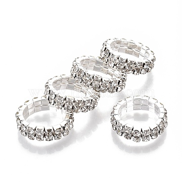 Iron Finger Rings, with Rhinestone, Platinum, Crystal, Size 5, Inner Diameter: 16mm(RJEW-R136-02)