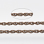 Soldered Brass Coated Iron Rope Chains, with Spool, Red Copper, 2x1.4x0.3mm; about 12m/roll