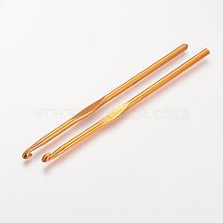 Aluminium crochets, orange foncé, broche: 5.0 mm; 148x4.5 mm(X-TOOL-R058-07A)