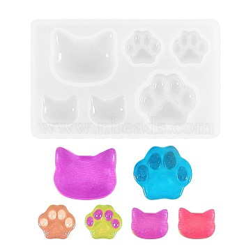 Silicone Molds, Epoxy Resin Casting Molds, For UV Resin, DIY Jewelry Craft Making, Cat & Bear Paw, White, 77x47x8mm, Inner Size: 14~25mm(X-DIY-L005-06)