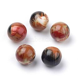 Perles acryliques imprimés opaques, rond, Pérou, 10x9.5mm, Trou: 2mm(MACR-S271-10mm-04)