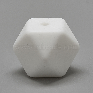 Food Grade Environmental Silicone Beads, Chewing Beads For Teethers, DIY Nursing Necklaces Making, Faceted Cube, White, 14x14x14mm, Hole: 2mm(SIL-Q009B-01)