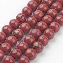 "Jaspe rouge naturel ronde perles brins, firebrick, 8mm, trou: 1 mm; environ 47 perle / Chapelet; 16""(GSR011)"