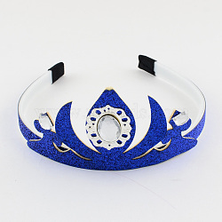 Милые детские коронка повязки, с акриловыми стразами и блестками порошок, синие, 110 мм(OHAR-R201-02)