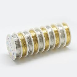 fil de bijoux de cuivre, couleur mélangée, Jauge 26, 0.4 mm; 15 m / rouleau(CW0.4mm018)