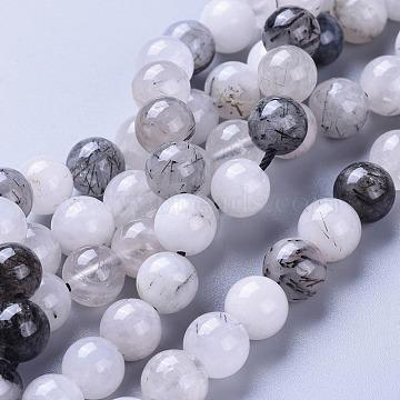 Natural Tourmalinated Quartz/Black Rutilated Quartz Beads Strands, Round, 8mm, Hole: 0.8mm, about 46pcs/strand, 15.07 inches~15.23 inches(38.3~38.7cm)(X-G-I256-04A)