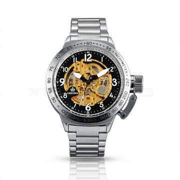 Stainless Steel Mechanical Wrist Watch, Stainless Steel Color, 50x75mm; Watch Head: 52x60x15mm(WACH-A003-05)