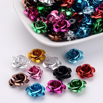 Aluminum Rose Flower, Tiny Metal Beads, Mixed Color, 15x9mm, Hole: 1mm, about 950pcs/bag(FALUM-AF15mm-M)