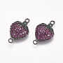 Brass Micro Pave Cubic Zirconia Links, Strawberry, Colorful, Gunmetal, 18x11x4mm, Hole: 1.5mm