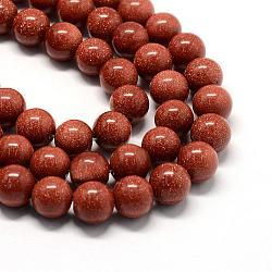 """Chapelets de perle en goldstone synthétique, rond, Sienna, 7~8x6.5~7mm, trou: 1mm; environ 50 pcs/chapelet, 14.7""""(G-S209-8mm)"""