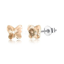 925 Sterling Silver Stud Earrings, with Austrian Crystal, Butterfly, Carved 925, Platinum, 391_Silk, 5x5mm(EJEW-BB30547-G)