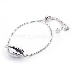 """Bracelets bolo réglables en laiton, Bracelets coulissants, avec des perles de coquille galvanisées, cauris, platine, 9"""" (23 cm), 1.3mm(BJEW-JB03956-01)"""