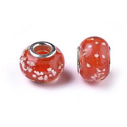 main lumineux chalumeau perles européennes, avec ame en laiton de couleur argent, tambour, rouge, taille: environ 13 mm de long, 10 mm de large, trou: 5 mm(X-LAMP-X098-11)