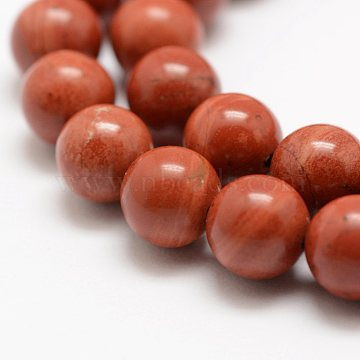 Natural Red Jasper Beads Strands, Grade A-, Round, 10mm, Hole: 1mm, about 38pcs/strand, 15.5 inches(39cm)(X-G-E375-10mm-03)