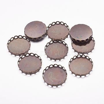 Brass Lace Edge Bezel Cups, Cabochon Settings, Cadmium Free & Lead Free, Flat Round, Antique Bronze, Tray: 18mm(X-KK-C1764-5-AB)