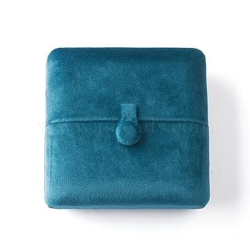 Velvet Bangle Bracelet Boxes, Square, Storage Display Jewelry, for Wedding Ceremony, Anniversary's Day, DarkTurquoise, 10x10x3.8cm(OBOX-D007-01)