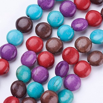 Synthetic Turquoise Beads Strands, Dyed, Flat Round, Mixed Color, 8x4~4.5mm, Hole: 1mm; about 54pcs/strand, 15.7''(40cm)(G-P347-05)