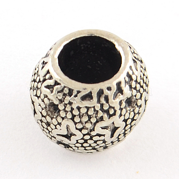 Tibetan Style Round Alloy European Bead Rhinestone Settings, Large Hole Beads, Lead Free, Antique Silver, 9~10x8mm, Hole: 5mm; Fit for 0.5~1mm rhinestone; about 523pcs/1000g(TIBEB-7479-AS-LF)