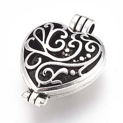 Lockets aromathérapie style tibétain pendentifs diffuseur médaillon, Grade a, sans plomb, de style creux, cœur, argent antique, 41x30x15mm, Trou: 5x4mm(X-TIBEP-A24743-AS-LF)